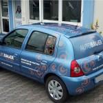 pkw beschriftung lochfolie auto bauer clio